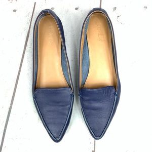 J. CREW leather upper blue pointy flats 91/2